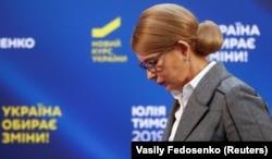Юлия Тимошенко после пресс-конференции 31 марта