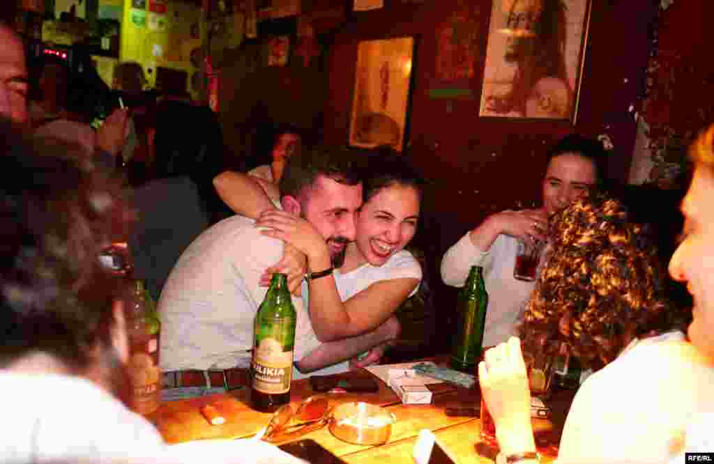In Yerevan's bars, the Tuesday evening felt more like a Saturday night.