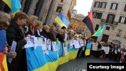 Мітинг українців в Римі, 16 березня 2014 року