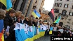 Українці Італії мітингували на підтримку батьківщини у Римі, березень 2014 року