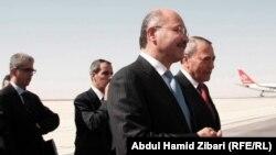 رئيس حكومة إقليم كردستان العراق برهم صالح يستقبل رئيس الوزراء الأردني معروف البخيت في مطار أربيل