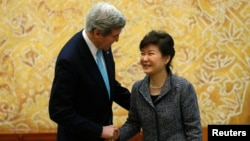 U.S. Secretary of State John Kerry meets with South Korean President Park Geun-hye in Seoul on February 13.