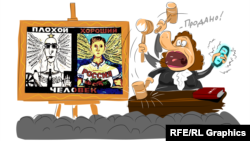 Процесс по делу Георгия Албурова, карикатура currenttime.tv