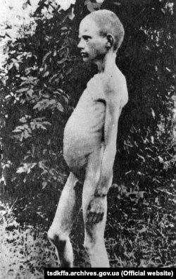 Голодний хлопчик в одному з сіл України. Репродукція. Місце і дата зйомки: УССР, 1932-1933 рр.