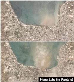Szatellitképek Paluról 2018. szeptember 25-én (felül) és 2018. szeptember 29-én.