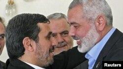 محمود احمدینژاد و اسماعیل هنیه در تهران، فوریه ۲۰۱۲