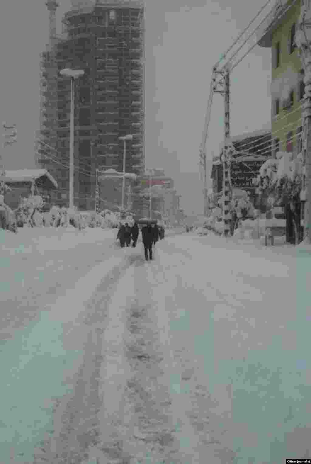 بارش برف در تنکابن