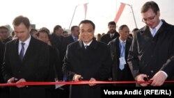 Ceremonija otvaranja Pupinovog mosta u Beogradu (na fotografiji: gradonačelnik Beograda Siniša Mali i premijeri Kine i Srbije Li Kećang i Aleksandar Vučić)