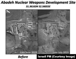 نخستوزیر اسرائیل میگوید که ایران تأسیسات آباده (تصویر سمت چپ) را اندکی بیش از یک ماه قبل نابود کرده است (تصویر سمت راست)