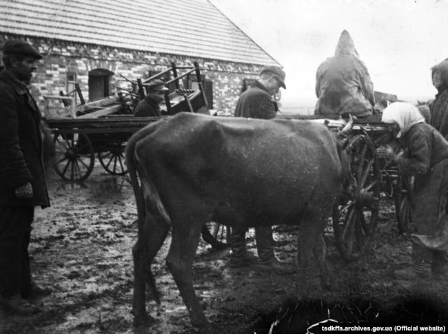Розкуркулення селянської родини. Забирають худобу, возами вивозять майно. Архівне фото, 1930 рік. Україна