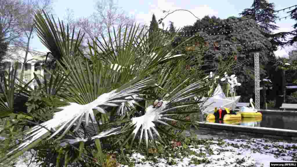 Привыкшие к скоротечному ялтинскому снегу пальмы, им не впервой носить зимние украшения