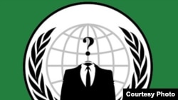 The logo of the group known as Anonymous