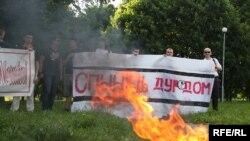 Пікет «Правага альянсу» супраць наркаманіі і п'янства ў чэрвені 2010 году