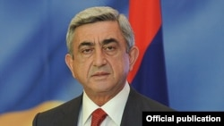 Armenian President Serzh Sarkisian speaks during a visit to Moscow on November 16.