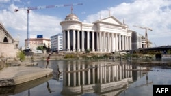 The construction site of Macedonia's new Archaeology Museum in the center of Skopje. It is one of many new buildings and statues that are part of an elaborate makeover for the city.