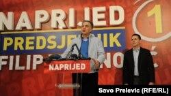 Filip Vujanović drži pobjednički govor, 7. april 2013.