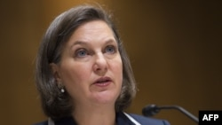 Assistant Secretary of State Victoria Nuland testifies on the situation in Ukraine before the Commission on Security and Cooperation in Europe during a hearing on Capitol Hill in Washington, D.C., on April 9.