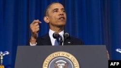 АҚШ президенті Барак Обама ұлттық қауіпсіздікке қатысты сөз сөйлеп тұр. Вашингтон, 23 мамыр 2013 жыл.