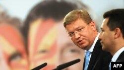 Еврокомесарот Штефан Филе и премиерот Никола Груевски