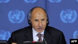 Libyan Transitional National Council Chairman Mustafa Abdel Jalil speaks during a meeting on Libya at United Nations headquarters in New York on September 20.