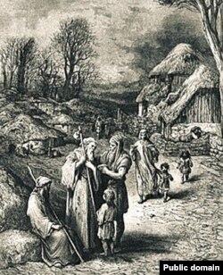 Адпачынак пілігрымаў у сярэднявеччы, гравюра ХІХ ст.