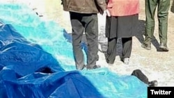 ‌Bodies of mourners killed in stampede at Soleimani's funeral procession in Kerman. January 7, 2020.