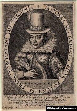 Покахонтас в костюме английской леди. Гравюра Симона ван де Пассе. 1616
