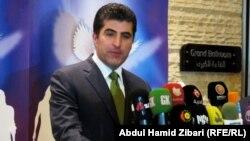 رئيس حكومة إقليم كردستان العراق نيجيرفان بارزاني يتحدث في مؤتمر صحفي بأربيل (الإثنين)