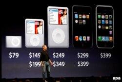 Стив Джобс представляет новую линию iPad в Сан-Франциско 5 сентября 2007 года.