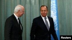 Стаффан де Мистура и Сергей Лавров (Москва, 3 мая 2016 года)
