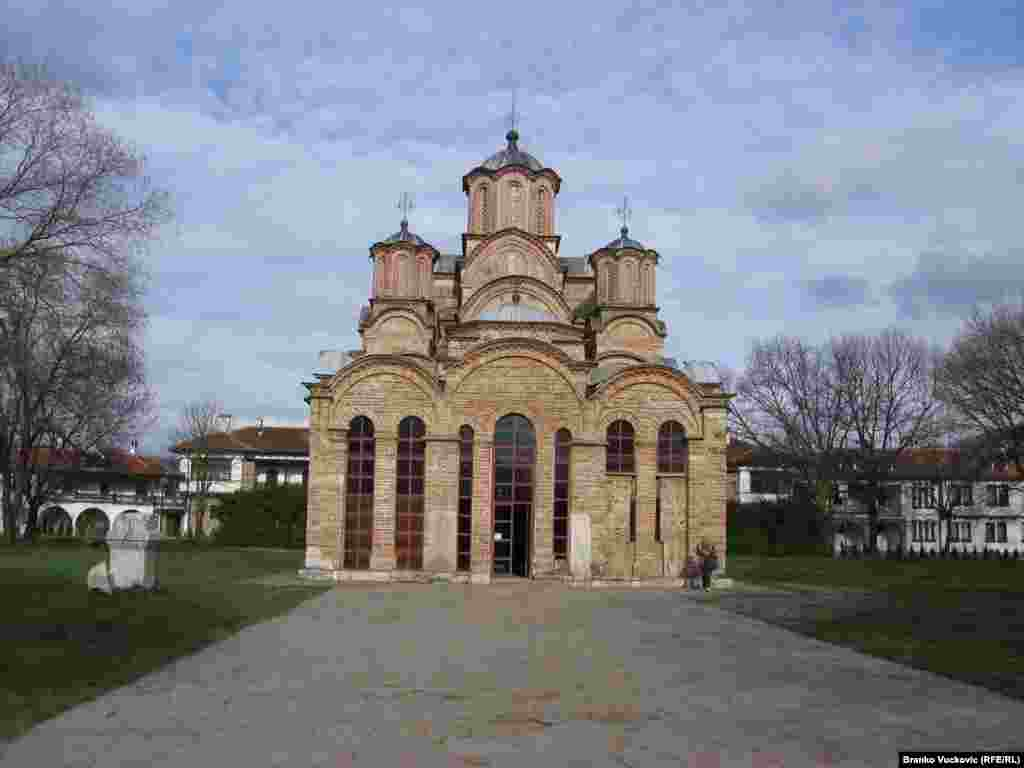 A Serbian Orthodox monastery in Gracanica, Kosovo. Located on the ruins of a 6th century basilica, the monastery was built by Serbian King Stefan Milutin in the early 14th century.