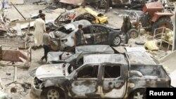 موقع انفجار سوق خان بني سعد