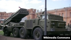 Russia - A BM-27 Uragan (Hurricane) multiple-launch rocket system at the St Petersburg Artillery Museum.