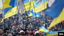 Protestuesit në Kiev të Ukrainës