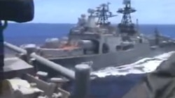 U.S. Navy Releases Video Of Close Call With Russian Destroyer