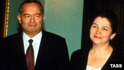 Өзбекстан президенті Ислам Каримов әйелі Татьяна Каримовамен (оң жақта).