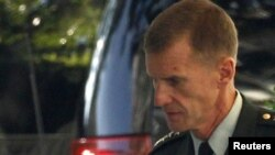 General Stanley McChrystal arrives at the White House for his meeting with Obama.