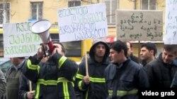 Georgian firemen on hunger strike in Tbilisi.