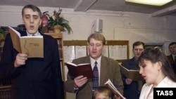 """""""Свидетели Иеговы"""" во время богослужения."""