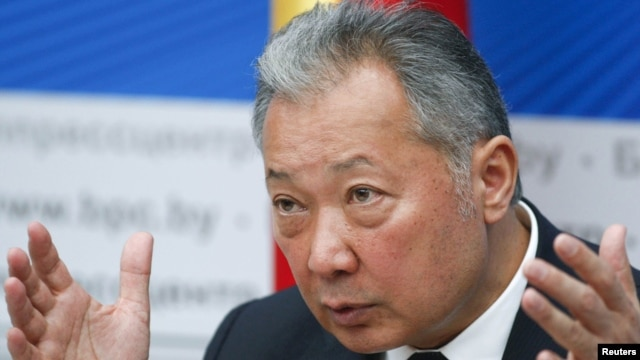 Former Kyrgyz President Kurmanbek Bakiev speaks at a news conference in Minsk in April 2010.