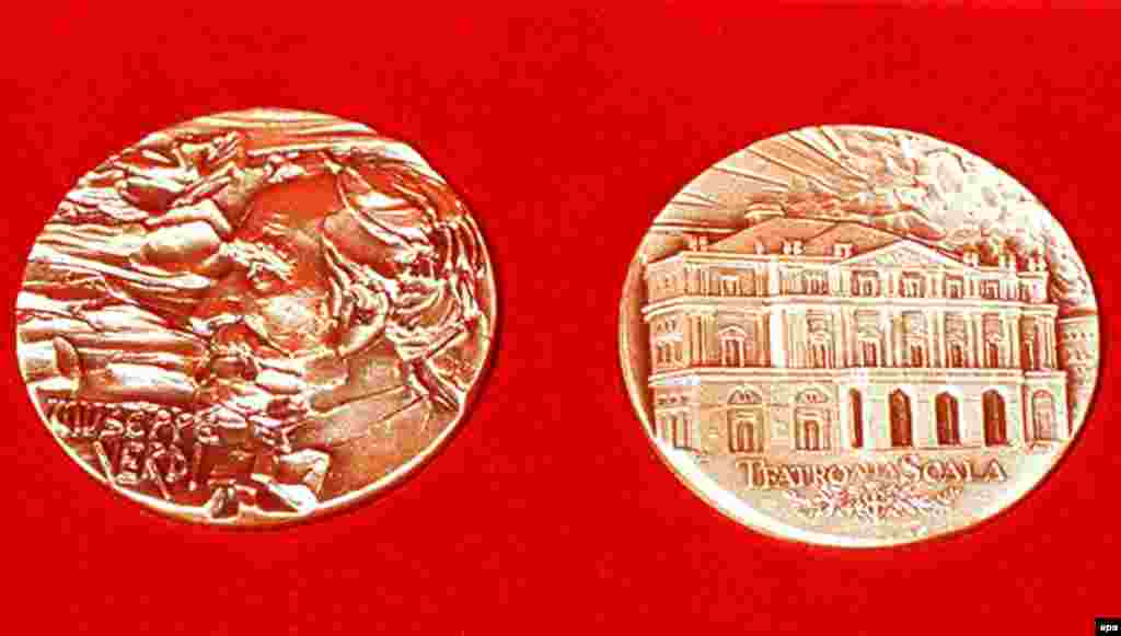 Medals issued by the opera house La Scala in Milan to commemorate the 100th anniversary of Verdi's death, at the age of 87, on January 27, 1901. Verdi and his wife, Giuseppina Strepponi, are both buried at a home for retired singers and musicians that the composer founded, and which he referred to as his greatest work.