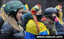 Революція гідності. Учасники Самооборони Майдану, Київ, 16 лютого 2014 року