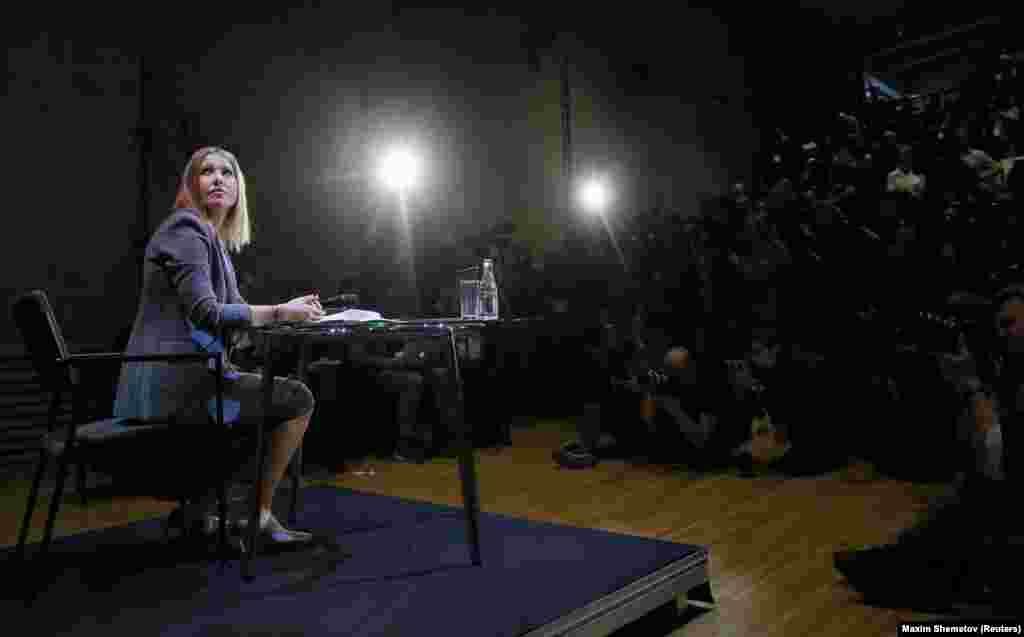 Russian socialite Ksenia Sobchak at her first press conference in Moscow after announcing that she intended to run for the presidency in 2018. (Reuters/Maxim Shemetov)
