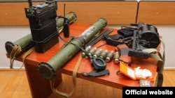 Nagorno Karabakh - Weapons allegedly seized by Karabakh's Defense Army from Azerbaijani special forces on 31 July, Stepanakert,01Aug,2014