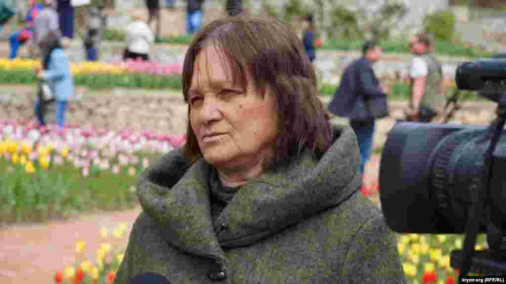 Куратор Парада тюльпанов, научный сотрудник Никитского ботанического сада Людмила Александрова.