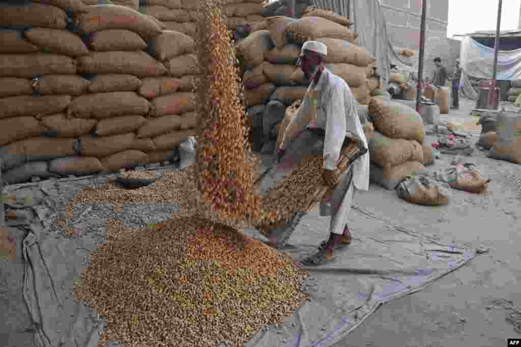 A laborer works at a peanut factory on the outskirts of Jalalabad, Afghanistan. (AFP/Noorullah Shirzada)