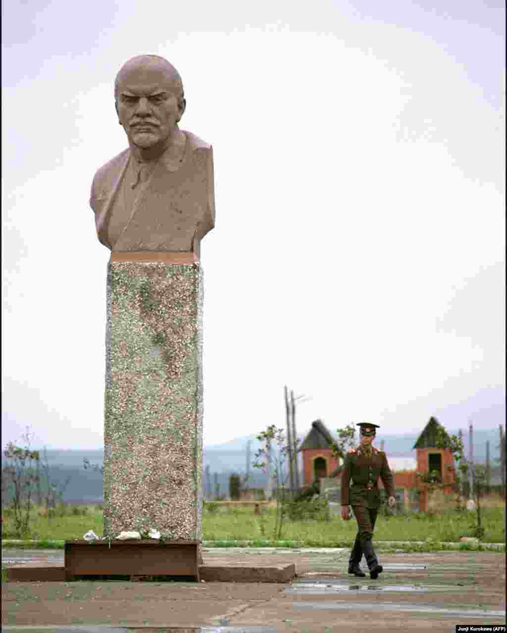 Kunashir, Russia: A photo from 1989 of the Lenin monument that still stands on one of the islands of the Kurile chain that is claimed by Japan but remains in Russian control.