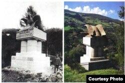 Монумент в память строительства железной дороги (фото из книги М.Талалая «Да упокоит тебя чужая земля»)