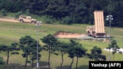 U.S. THAAD system equipment is seen at a former golf course in the southern county of Seongju, South Korea, in September.