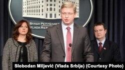 Štefan File govori nakon sastanka sa Ivicom Dačićem, foto: Slobodan Miljević/Vlada Srbije